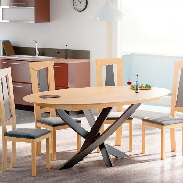 table design extensible ovale fabrication francaise en bois avec pied central elliptica