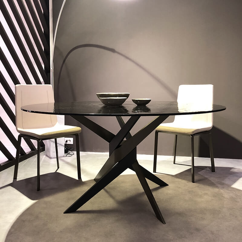 table ronde en verre design italien pied central vertigo