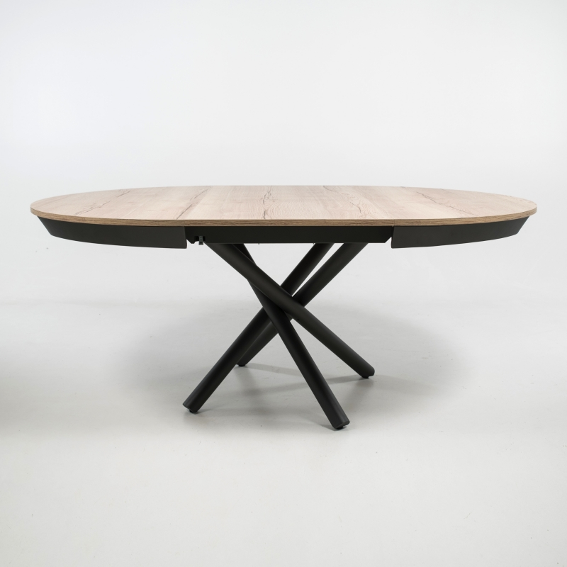 table ronde extensible design en melamine et pied mikado fahrenheit