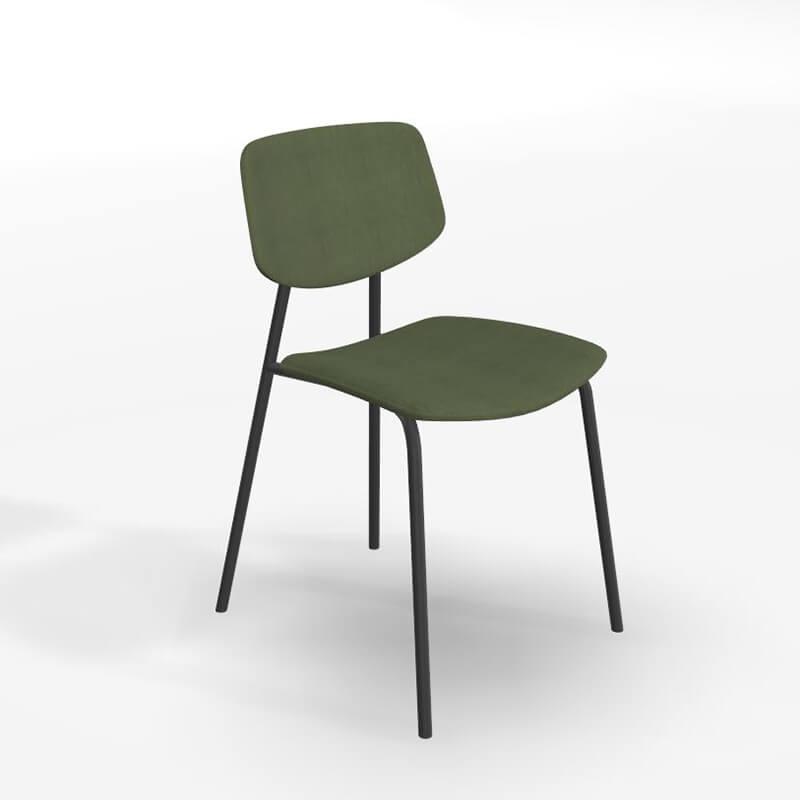 chaise vintage en tissu et structure metal lago