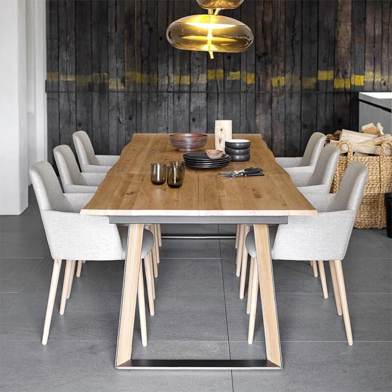 fauteuil de salle a manger cocooning en tissu et pieds bois rob c02 mobitec