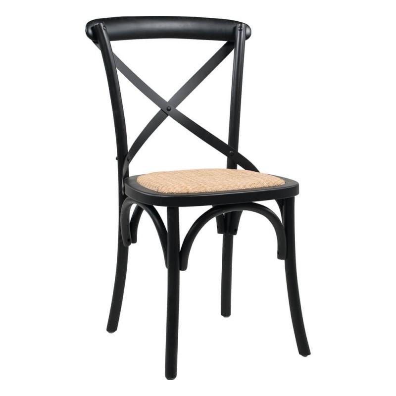 chaise bistrot en bois vintage noir et assise rotin cabaret