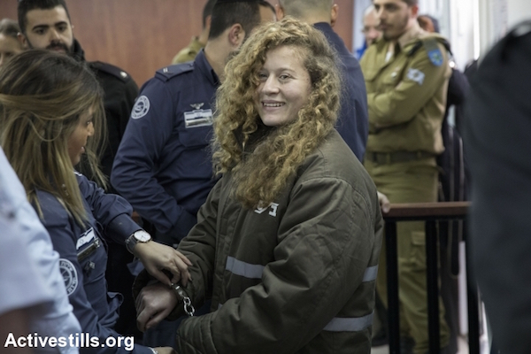 Ahed Tamimi is seen before her hearing at Ofer Military Court near the West Bank city of Ramallah, January 17, 2018. (Oren Ziv/Activestills.org)