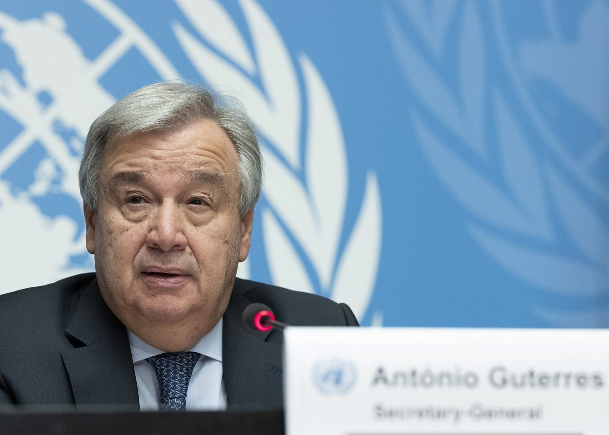 Secretary-General António Guterres during press conference on the theme on violence against women in conflict. 25 February 2019. (UN Photo/Jean Marc Ferré)