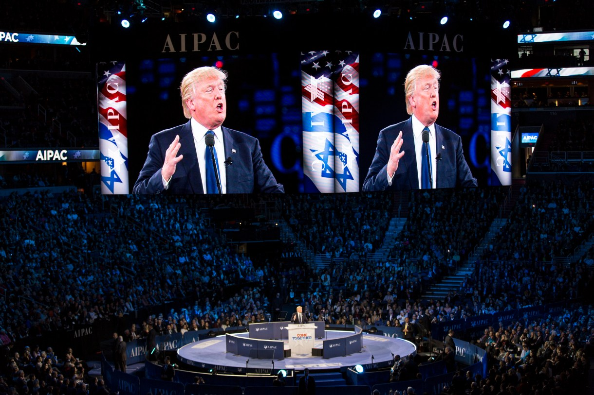 President Donald Trump speaking at the annual AIPAC policy conference in, Washington, D.C. on March 21, 2016. (Lorie Shaull/CC BY-SA 2.0)