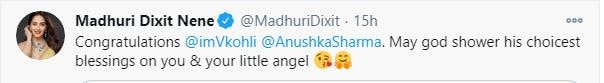 BEST NEWS!  ': Madhuri Dixit, Priyanka Chopra and others congratulate Virat-Anushka