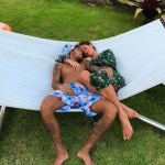 Barcelona forward Neymar simply wrote, 'Happy Valentine's Day', on a picture of the pair relaxing on a beach