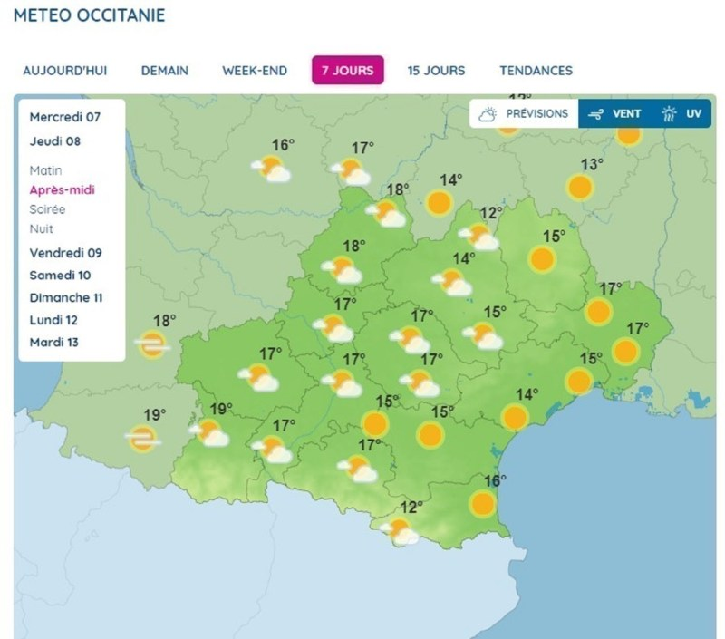 Forecasts in Occitanie, Thursday April 8, 2021.