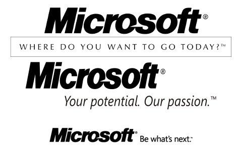 Microsoft - loga od 1987 do 2012
