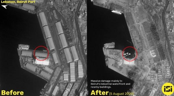 Появились фото последствий взрывов в Бейруте, сделанные из ...