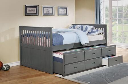 Bennett Collection Full Size Captain Bed with Trundle  3 Storage Drawers  Solid Hardwood and Wood Veneer Construction in Gray