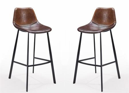The Pablo Collection counter stool presents a mid-century modern look with a contemporary touch The sleek lines are warmed by the rich tones of its chestnut brown upholstery with the texture of a well worn glove  Decorative baseball stitching and bla...