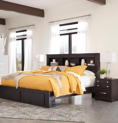 King size bed from Signature Design by Ashley is the perfect furniture to being the decoration of your personal bedroom. The headboard is designed as a bookcase where you can store books and read them during the free time on the bed. The bed is const...