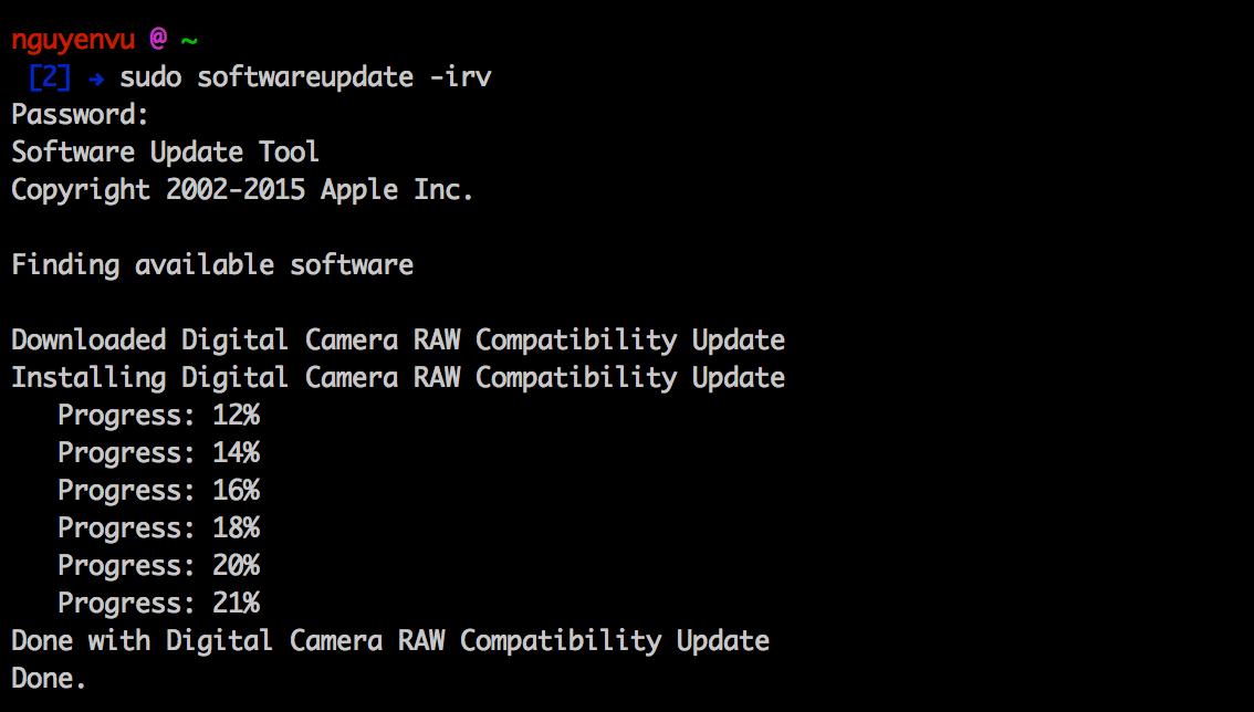 Hướng dẫn nâng cấp phần mềm từ Terminal cho OS X