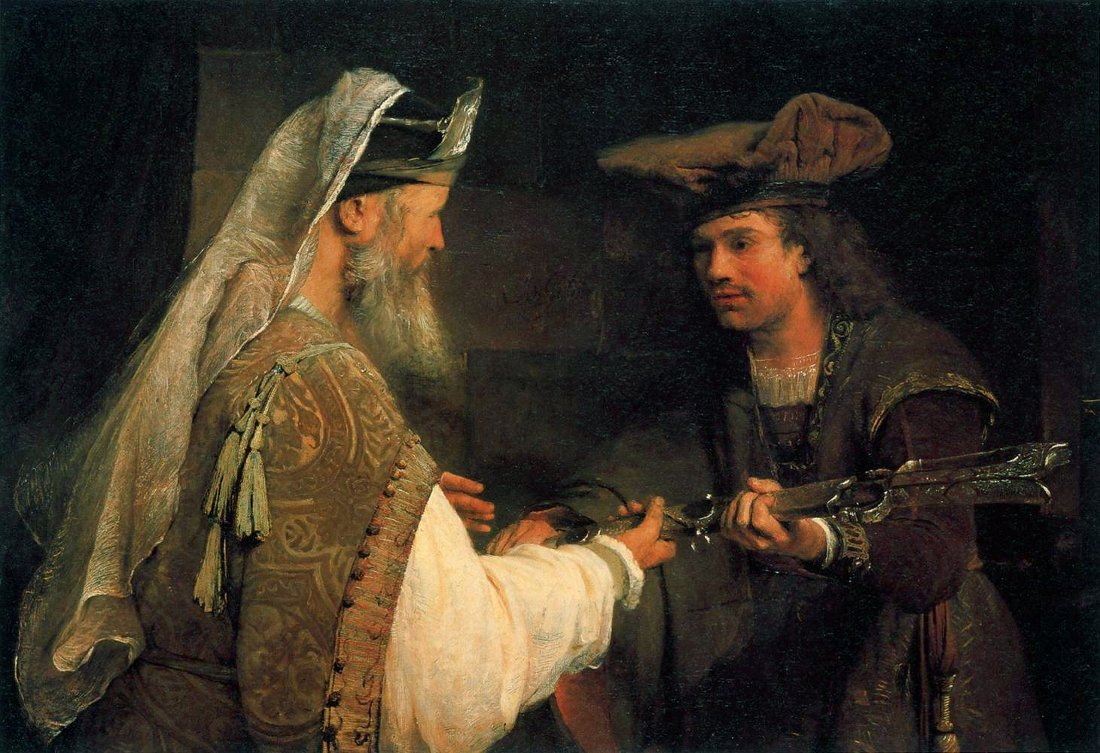 Arent de Gelder: Ahimelech giving Goliath's sword to David