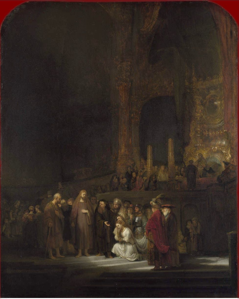 Rembrandt Harmensz. van Rijn: Christ and the Woman Taken in Adultery