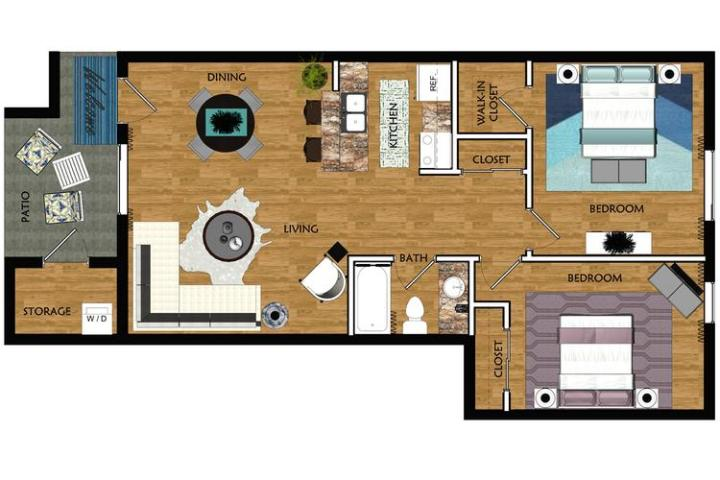 2 Bedroom Apartments in Mesa AZ   Level 550 Apartments 2D   The Scottsdale contains 2 bedrooms and 1 bathrooms in 800 square feet  of living