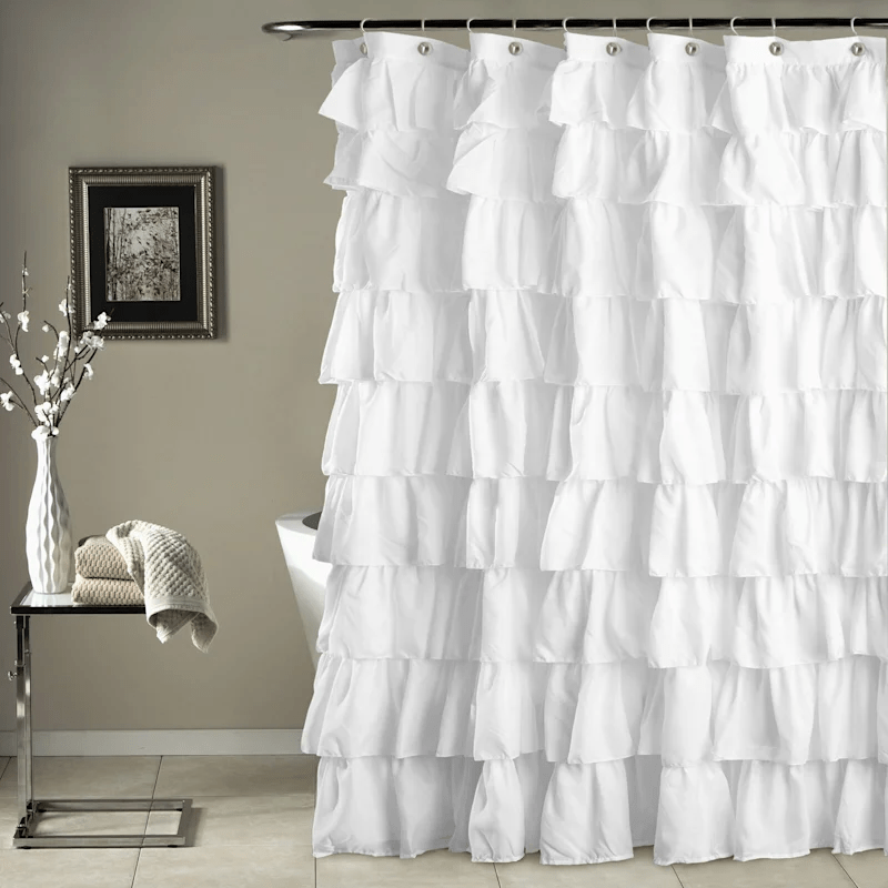 white ruffle shower curtain 72x72 at home