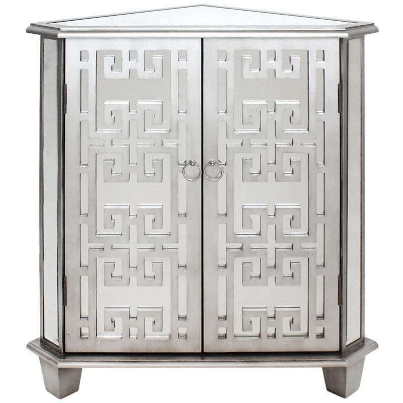 silver mirror corner cabinet at home