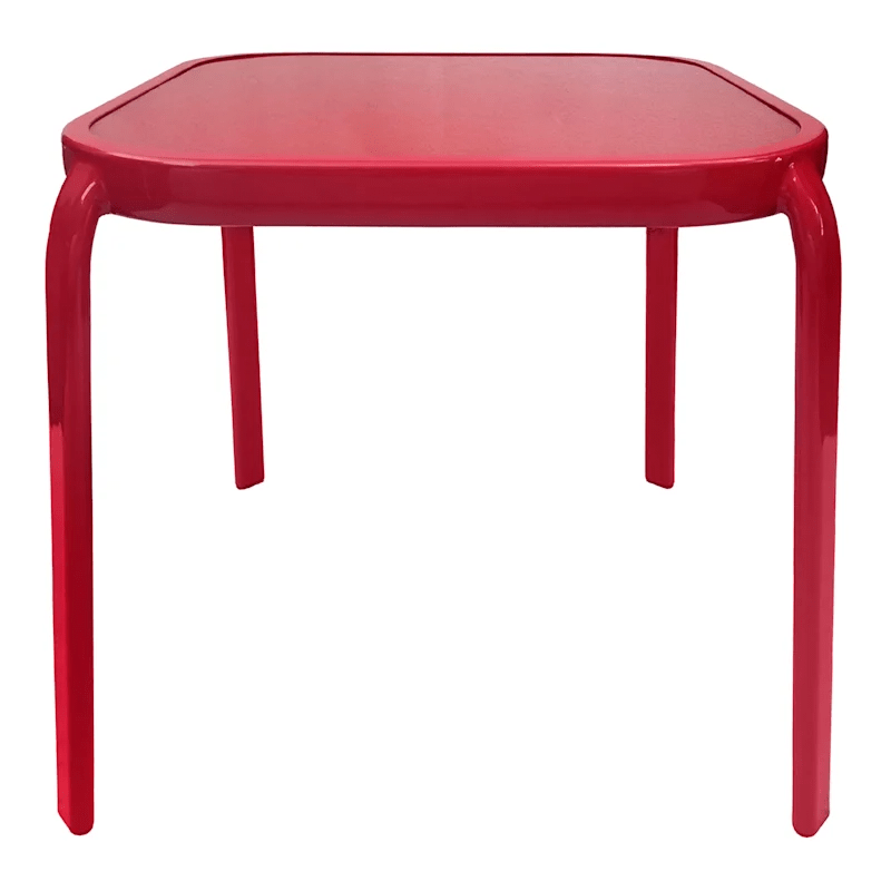 steel red square outdoor end table 16