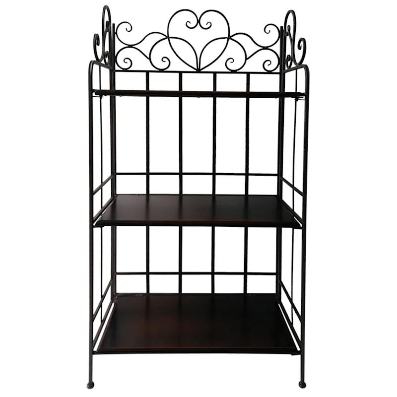 brown metal rack with 3 tier folding