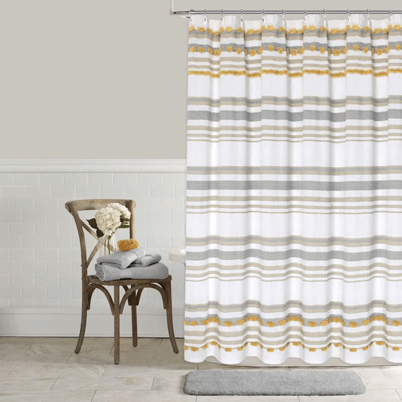 yellow grey tufted stripe shower