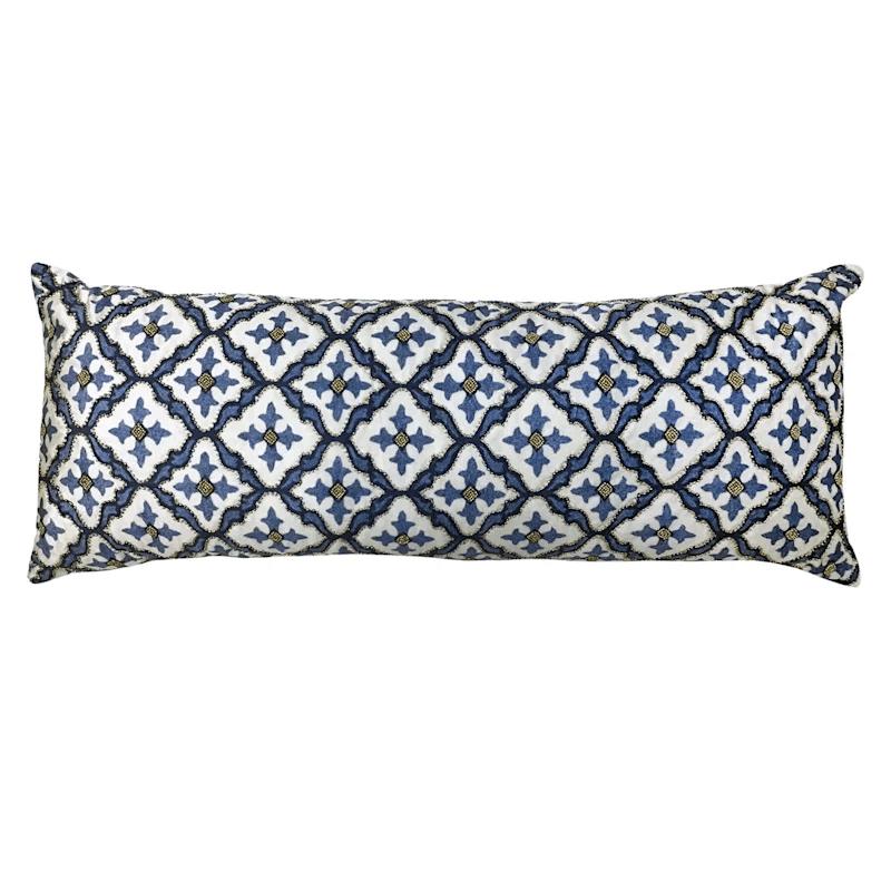 blue beaded print rectangle pillow
