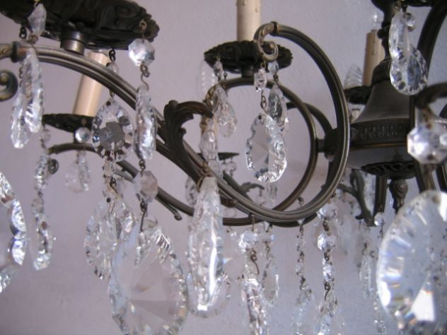 Antico lampadario maria antonietta con cascata di gocce. Lampadario A Gocce In Cristallo Vetro Ottone 12 Luci Vintage Annunci Bologna