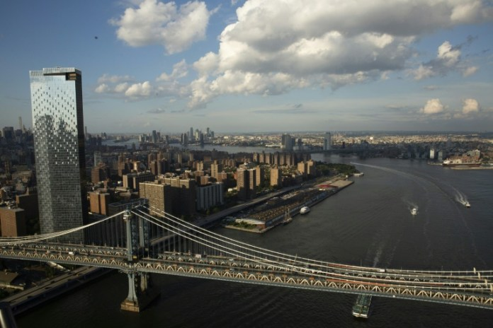 A aerial view of Manhattan Bridge in New York City; legislation under debate in the US Senate calls for $550 billion in new federal spending on the nation's aging infrastructure.