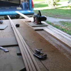 cutting the strip with a circular saw