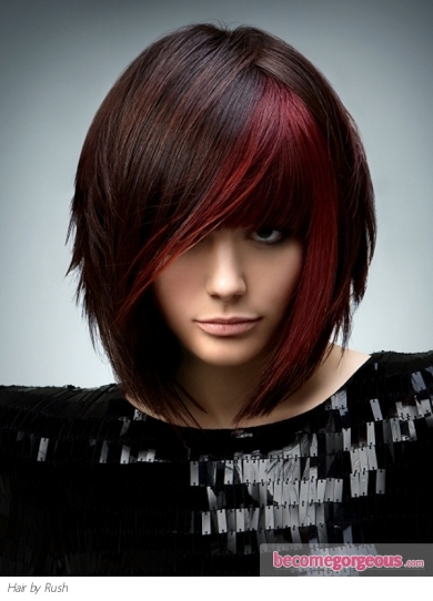 Cheer up your brunette hair color with red highlights and enjoy the magical