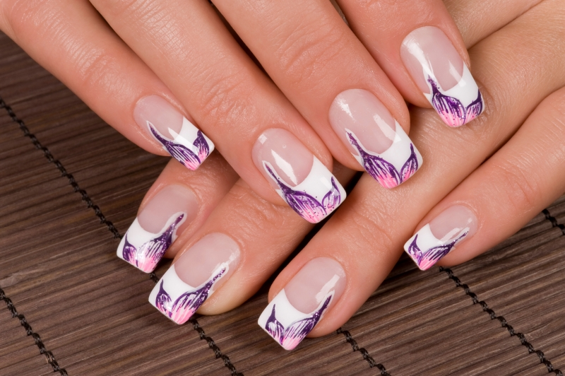 Colorful French Nail Art Fl