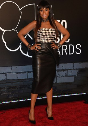 Jennifer Hudson Leather Pencil Skirt