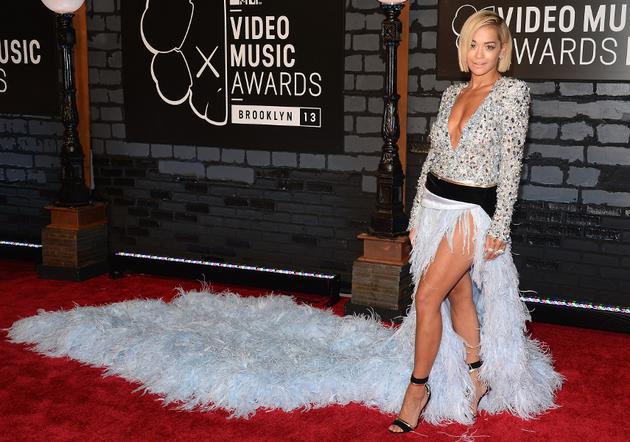 Rita Ora Alexander Vauthier Feather Train Dress