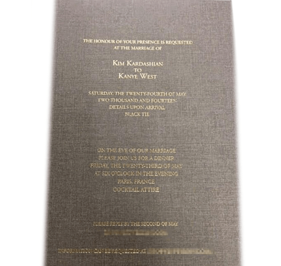 Kim Kardashian S Wedding Invitation