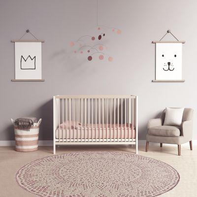 tapis rond crochet rose 135 cm
