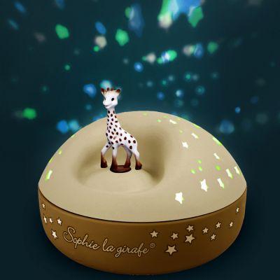 veilleuse projecteur d etoiles musical sophie la girafe jaune 12 cm