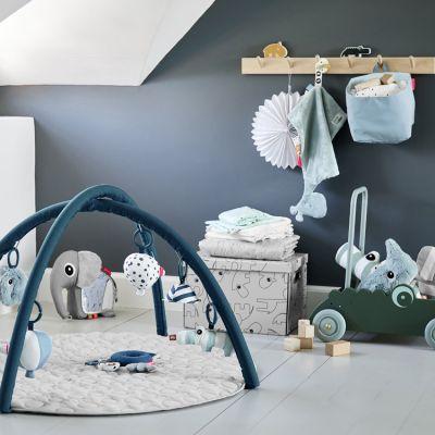 tapis d eveil rond avec arches bleu 90 x 90 cm