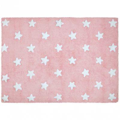 tapis lavable etoiles rose 120 x 160 cm