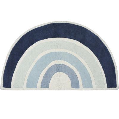 tapis coton paradisio arc en ciel bleu 120 x 70 cm