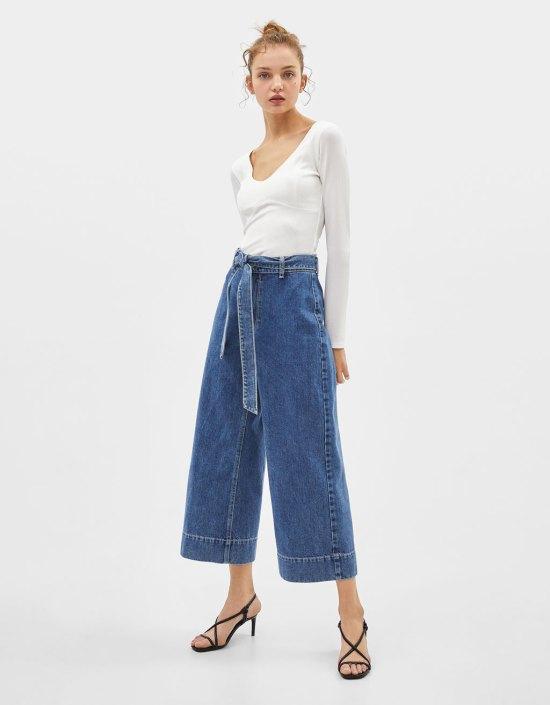 Jeans Culotte con cinturón