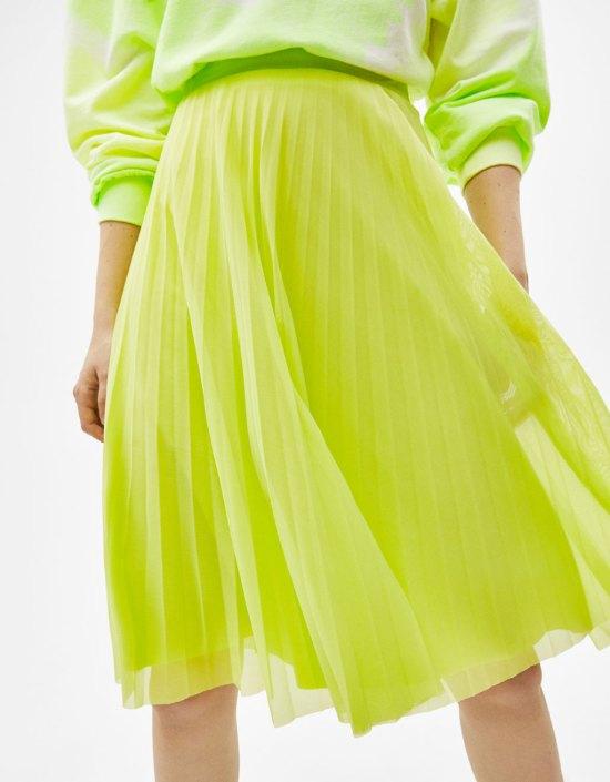 Falda midi de tul plisada