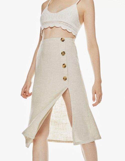 Falda midi de lino
