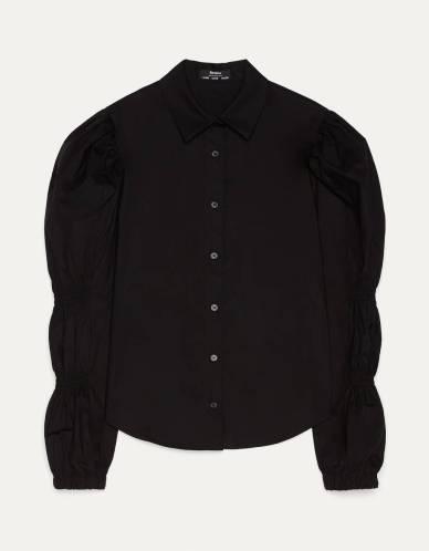 Camisa de popelín con fruncidos