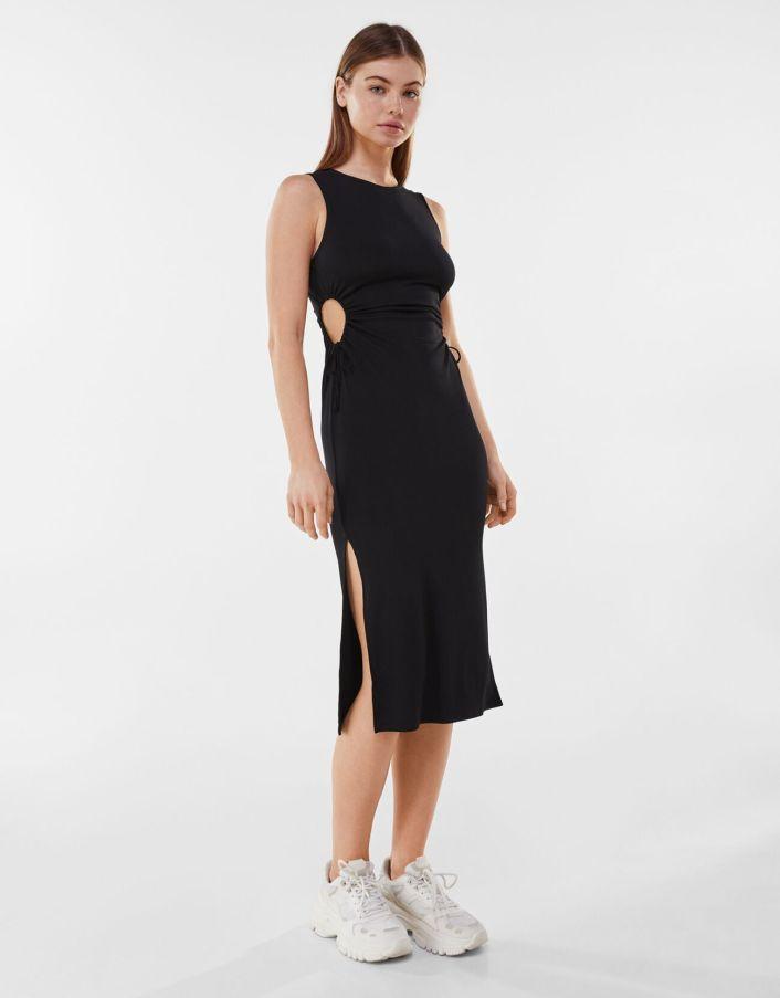 Side cut-out midi dress bershka
