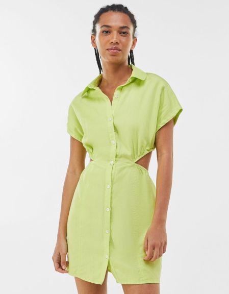 Cut-out shirt dress-Lime bershka