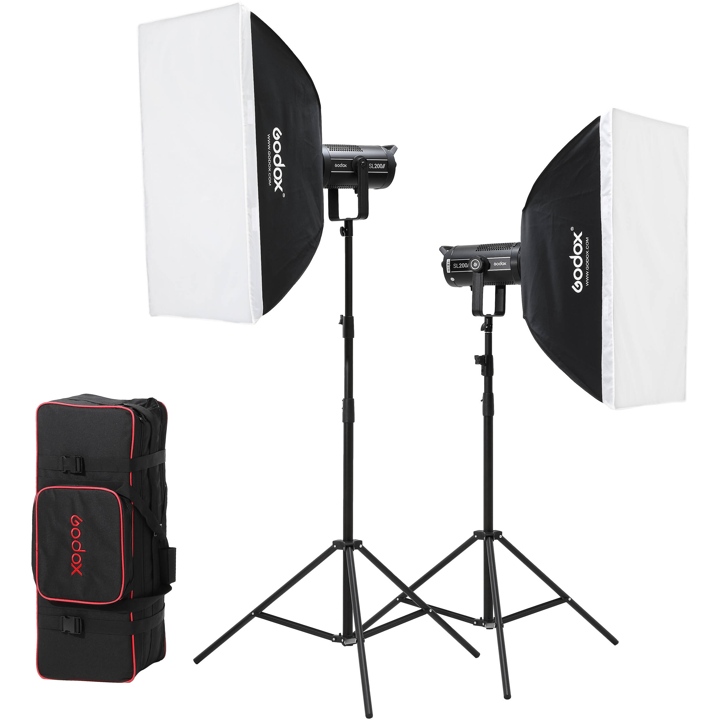 godox led sl200wii daylight 2 light kit with stands and softboxes