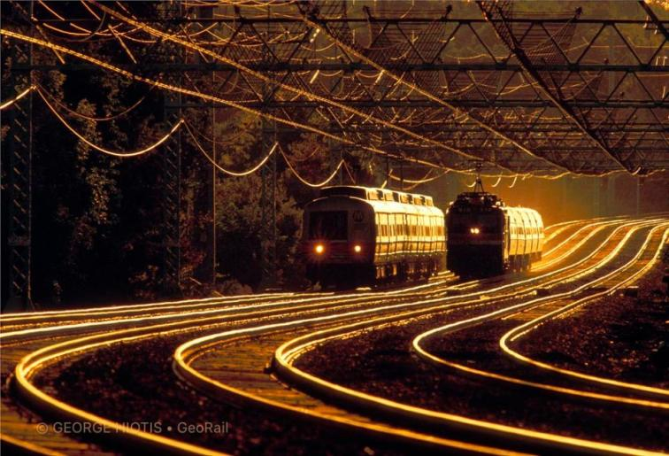 """George Hiotis likes to use low back-sidelight for a dramatic effect saying, """"Reflective surfaces such as railroad cars, rails, and overhead catenary wires will really glow in this lighting situation."""""""