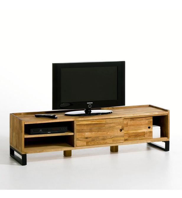 banc tv chene massif aboute et acier