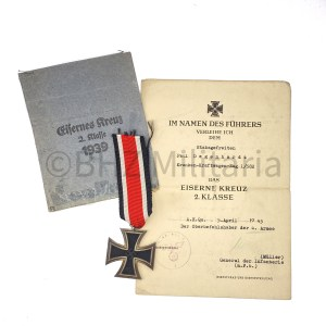 Set Iron Cross 2nd Class 1939 with Document and Bag